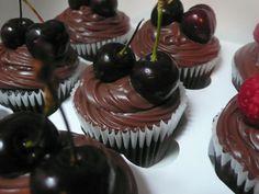 Chocolate and black cherry cupcakes