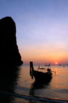 Sunset at Railay Beach, Thailand, by Tess Langmaid