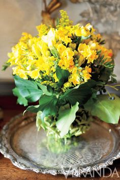 Jonquils, Daffodils, Ranunculus, Ivy and Mimosa