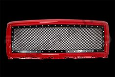 2014-2015 Chevy Silverado 1500 Victory Red Outer Shell with Gloss Black Rivet Studded Frame Mesh Grille Complete Factory Replacement Grille Shell