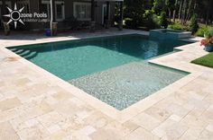 rectangle pools with spa Rectangular Pool & Spa with Glass Tile Backyard Pool Landscaping, Backyard Pool Designs, Swimming Pools Backyard, Swimming Pool Designs, Swimming Pool Tiles, Landscaping Ideas, Pool Spa, Pool Water, Rectangle Pool