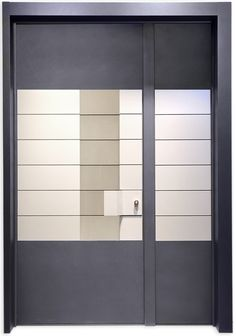 The one and a Half wing Rowena Door is the product of the space concept as a raw element for the creation of the interior design, without any need for decorations or excessive details.  The inspiration is contemporary, with clean lines, a clear geometry, large spaces, innovation and breaking rules. Japanese Door, Classic Doors, Grill Design, Modern Door, Security Door, Steel Doors, Entrance Doors, Exterior Doors, Clean Lines