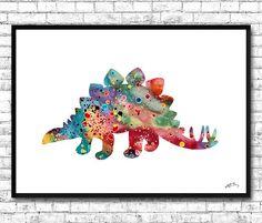 Stegosaurus Dinosaur Watercolor PrintArt Print For by ArtsPrint