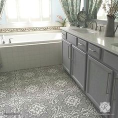 Our Lisboa Tile Stencil is a beautiful classic tile stencil design inspired by the Portuguese tiles, known as azulejos, that line the walls of Lisbon, Portugal. Use this pretty tile stencil on walls, Linoleum Flooring, Bathroom Flooring, Painting Linoleum Floors, Kitchen Floors, Concrete Bathroom, Plywood Floors, Cement Tiles, Kitchen Chairs, Laminate Flooring