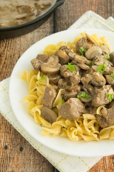 An easy 30-minute healthier beef stroganoff recipe. Switch out yogurt for dairy free yogurt or coconut milk
