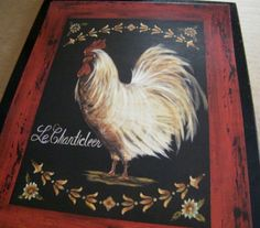 Chicken Rooster  Retro Primitive Country  KITCHEN by carolalden, $9.95