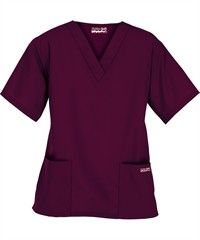 Style # PC62C: WINE: Butter-Soft Scrubs by UA™ Women's Two Pocket Top