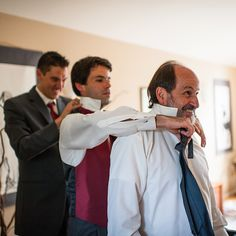 The bride's father, brother, and a friend in an impromptu tie tying train. John + Louise Weddings.