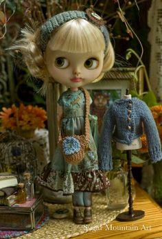 Back To School Blues. Boho Maxi Dress With Knitted Cardigan Free Spirit Girl, Crochet Embellishments, Mountain Art, Custom Dolls, Doll Face, Big Eyes, Wooden Beads, Blythe Dolls, Crochet Flowers