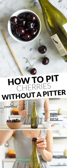 How to Pit Cherries Without a Pitter by healthynibbblesandbits:  An easy trick + video tutorial. #DIY #Cherry_Pitter