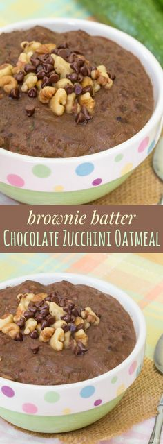 Brownie Batter Chocolate Zucchini Oatmeal - get your veggies in the morning with…