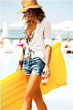 Camisa Branca - Praia - Look Praia - Moda Praia