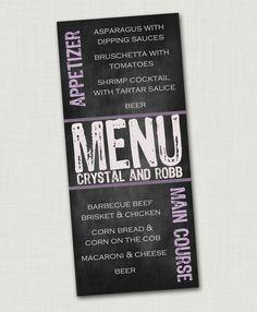 Chalkboard menu card rustic menu card wedding by CmonLetsCelebrate, $0.90
