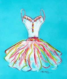 Art Print Dress in Watercolor by lauratrevey on Etsy, $20.00
