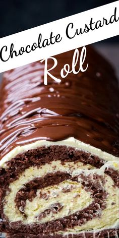 Chocolate Custard, Chocolate Desserts, Cookie Desserts, Just Desserts, Chocolate Angel Food Cake, Delicious Desserts, Chocolate Roll Cake, Cake Roll Recipes, Dessert Recipes