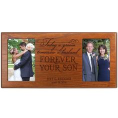 Personalized Wedding Photo Frame for Parents - Today a Groom Tomorrow a Husband Forever Your Son