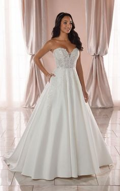 Wedding Dresses Lace High Neck 6915 Plus Size Strapless Structured Ballgown with Pockets by Stella York.Wedding Dresses Lace High Neck 6915 Plus Size Strapless Structured Ballgown with Pockets by Stella York Affordable Wedding Dresses, Black Wedding Dresses, Princess Wedding Dresses, Boho Wedding Dress, Lace Wedding, Wedding Beauty, Mermaid Wedding, Wedding Bells, Deb Dresses