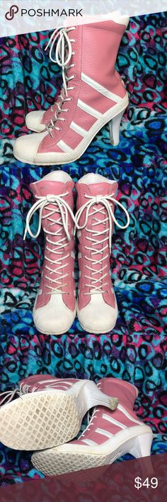 """1-Hour Sale! Lobo Sneaker Boots I think these are the coolest! Steve Madden """"Lobo"""" sneaker boots. Genuine leather. There's some discoloration on the white parts and soles, but no damage to the leather. 2.75"""" heel, back extends 7"""" up from the bottom of the foot. The pink areas are genuine leather. I wear a 7.5 in boots, and find these to be true to size; they fit me well. Use the """"Add to Bundle"""" button to purchase more than one item in my closet at once; you'll receive a bundle discount and…"""
