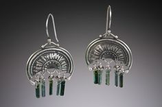 Silver Sea Spray Earrings with Polished Blue-Green Tourmaline Crystals