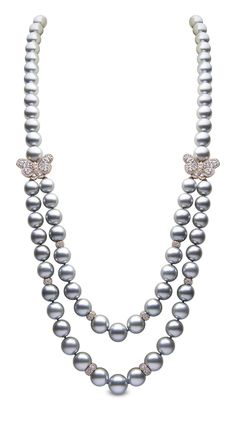 YOKO London double strand pearl necklace in rose gold, set with Tahitian pearls and diamond butterflies.