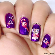 Uma's Nail Art: Candy Cane Nail Art...  http://www.ladyqueen.com/merry-christmas-santa-claus-snowman-sleigh-christmas-tree-nail-art-water-transfer-decals-stickers-na0495.html