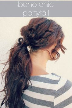 Easy, messy boho chic ponytail. For the days where you don't have time but still want a cute hairstyle!