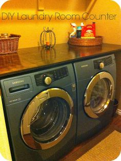 Barksdale Blessings: DIY Laundry Room Counter. (Mine would have to be removable. During bad winter electrical power losses, we have to unplug our major appliances to cut down on risk of power surges and appliances getting blown out when the electricity finally comes back on.)