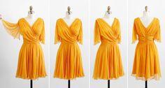 vintage 1960s dress / 60s dress / Marigold Yellow Silk Chiffon Pixie Party Dress