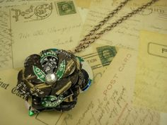 Recycled Starbucks Can Flower and Leaf Pendant Necklace
