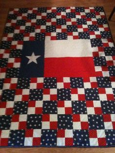 love the red, white and blue fabrics together (not so much the flag in the middle, unless you're a fax of Texas!)