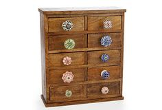Wooden Display Cabinet (I would make the knobs all the same, to let the wood be the star)