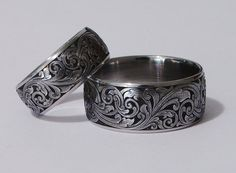 """Scrolling Wedding Bands   12mm Stainless band """"pipe cut"""" with beveled edges and single running ..."""