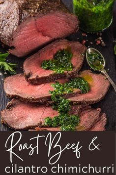 This easy Sliced Roast Beef recipe with Cilantro Chimichurri makes an amazing, easy meal! Use the leftovers to slice the beef razor-thin for perfect roast beef sandwiches. You'll get lots of tips and tricks, from how to get super tender roast beef every time to making the best roast beef sandwich ever! #roastbeefrecipe #slicedroastbeef #cilantrochimichurri #roastbeefsandwich #thewickednoodle Rare Roast Beef, Tender Roast Beef, Best Roast Beef, Sliced Roast Beef, Recipes With Beef Meat, Healthy Beef Recipes, Beef Recipes For Dinner, Cilantro Chimichurri, Chimichurri Chicken
