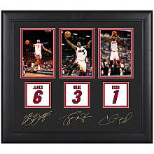 Mounted Memories Miami Heat LeBron James, Dwyane Wade, and Chris Bosh Framed Collectible with Facsimile Signatures