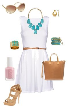 """Afternoon out"" by michelled2711 ❤ liked on Polyvore featuring AX Paris, ALDO, Cara Accessories, Zara, Essie, Old Navy, Rane, Kendra Scott, Stefano Patriarchi and white dress"