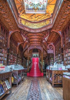 Here's a list of 5 reasons why you have to visit Northern Portugal! Namely Porto and the Douro Valley. Beautiful Library, Dream Library, World's Most Beautiful, Beautiful Homes, Beautiful Gardens, Livraria Lello Porto, Portugal Travel Guide, Staircase Design, Curved Staircase