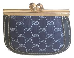 31bc10dbdcb Gucci Navy Blue Leather Micro Gg Coated Canvas Rare Vintage Coin Mad Money  Purse Wallet 77% off retail