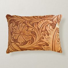Shop Rustic brown western country tooled leather decorative pillow created by WhenWestMeetEast.
