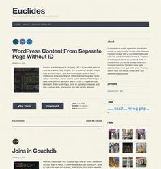 Euclides A free WordPress theme for tutorial authors Wordpress Theme, Authors, Blog, Free, Blogging, Writers