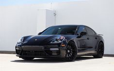 Download wallpapers Porsche Panamera, 2017, P200, black sport sedan, tuning, black Panamera, German cars, HRE, Porsche