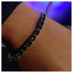 Liquidation Channel | TLV Russian Diopside Bracelet in Sterling Silver (Nicker Free)
