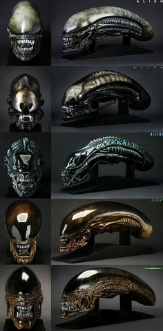 Xenomorph evolution Alien Hans Ruedi Giger Aliens Stan Winslow Alien³ Richard Edlund Alien Resurrection Alec Gillis e Tom Woodruff Jr. Alien Vs Predator, Predator Mask, Hr Giger Art, Hr Giger Alien, Les Aliens, Aliens Movie, Aliens 1986, Science Fiction, Concept Alien