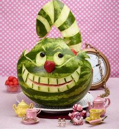 Watermelon Carving Cheshire Cat