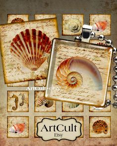 NAUTILUS++Digital+Collage+Sheet+1x1+inch+and+7/8x7/8+by+ArtCult,+$4.60