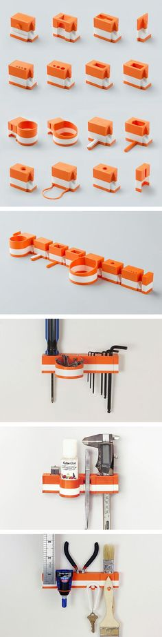 Read More About Printed Modular Hanging Tool Organizers by Matthijs Kok for Cubify. 3d Printer Designs, 3d Printer Projects, 3d Projects, Impression 3d, Design Shop, 3d Design, Print Design, Diy 3d Drucker, Custom 3d Printing