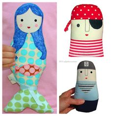 Kids  Sailor  Pirate  Mermaid  Cloth Applique by tadpolecreations, $65.00