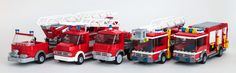 I moved to an extremely dreary cubicle that needed some color -- what better way… Lego City Fire Truck, Lego Truck, Fire Trucks, Lego City Sets, Lego Sets, Lego Ambulance, Lego Wheels, Lego Fire, Fire Equipment
