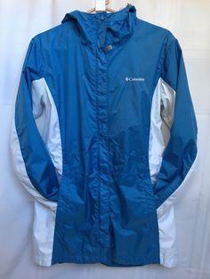 5fb762fddd5  140 Columbia Women s size Large L Long Shell Rain Blue White Jacket Black  c71