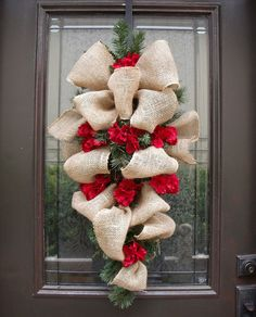 Christmas Wreath Burlap, Burlap Swag, Hydrangea and Burlap Holiday Wreath Burlap, Burlap Christmas Wreath, Rustic Decor