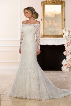 Wedding Dress out of Stella York - 6662 : Lace wedding dress idea - fit-and-flare, lace wedding dress with long, lace sleeves and off-the-shoulder neckline. Style 6662 from Stella York. See more wedding dress inspo on WeddingWire! 2016 Wedding Dresses, Wedding Dress Trends, Bridal Dresses, 2017 Wedding, Trendy Wedding, Fall Dresses, Dress Wedding, Wedding Ideas, Wedding Blog